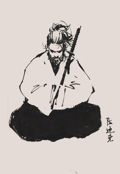 Musashi Miyamoto by dikeruan Afro Samurai, Samurai Tattoo, Bushido Tattoo, Samurai Artwork, Japanese Warrior, Japanese Tattoo Art, Asian Tattoos, Desenho Tattoo, Japan Art