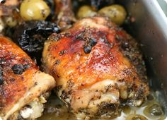 Chicken Marbella from the Silver Palate cookbook.  It is so delicious.  I add dried apricots and lots of whole cloves of garlic.  Before baking the chicken I brown the skin in a skillet.