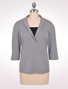 Women's | Tops | Shawl-Collar Inset Top | dressbarn