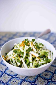 Kohlrabi Salad with cilantro and lime...vegan, gluten free and refreshing!!
