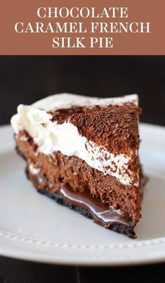 Chocolate Caramel French Silk Pie is the BEST PIE EVER! Easy Oreo cookie crust, hidden layer of thick homemade caramel, chocolate French silk filling, and whipped cream! Can be made ahead of time and has no raw eggs! #pierecipes #chocolatepie #peanutbutterpie #dessert #recipe #food #baking #fall #thanksgiving #handletheheat #chocolate #caramel #frenchsilk #frenchsilkpie #pierecipes #chocolate #thanksgivingrecipes