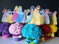 Princess centerpieces. Disney Princess Centerpieces, Princess Birthday Party Decorations, Disney Princess Birthday Party, Princess Theme Party, First Birthday Party Themes, Tea Party Birthday, Girl Birthday, Baby Party, Princesas Disney