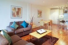 Our beautiful modern serviced two bedroom apartment in Vauxhall, south London.  Wooden floors, open plan kitchen.