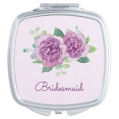 Purple Rose Pretty Watercolor Mirror For Makeup - diy cyo customize create your own personalize