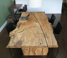 Live edge design reclaimed wood dining table