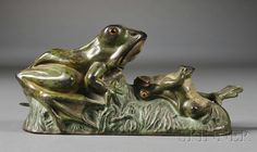Painted Cast Iron Two Frogs Mechanical Bank