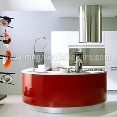 Modern kitchen islands are popular interior design ideas that add functional, comfortable and stylish areas to busy kitchens Kitchen Vinyl, Red Kitchen, Wooden Kitchen, Kitchen Colors, Kitchen Interior, Kitchen Decor, Kitchen Ideas, New Kitchen Designs, Modern Kitchen Design