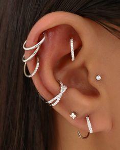 Rook Piercing Jewelry, Conch Jewelry, Tragus Earrings, Tragus Piercings, Ear Jewelry, Cute Jewelry, Cartilage Hoop, Pretty Ear Piercings, Stylish Jewelry