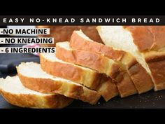 No-Knead Sandwich Bread - Just 6 ingredients in less than 2 hours! No Knead Sandwich Bread Recipe, No Knead Bread, Bread Bun, Easy Bread, Baking Buns, Bread Baking, Cooking Bread, Bun In The Oven, Bread Ingredients