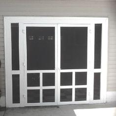 Homemade screen doors for garage door opening. Love this idea. Plus a matching front screen door.