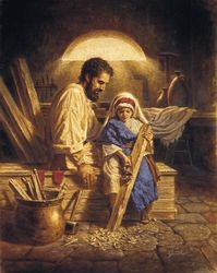 EMILY'S A picture of St. Joseph teaching Jesus >>>Father and Son by Corbert Gauthier { St. Joseph teaching carpentry to young Jesus } Images Du Christ, Images Bible, Pictures Of Christ, Religious Pictures, Bible Pictures, St Joseph Pictures, Catholic Art, Catholic Saints, Religious Art