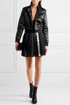 Versus Versace - Faux Leather-trimmed Embellished Pleated Chiffon Mini Skirt - Black - IT36