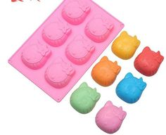 ALVA 6 even KITTY cat jelly pudding mold die Silicone Chocolate Moulds 5pcsno.CM67 -- You can get more details here : Candy Making Supplies