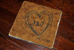 Custom order Rustic Love Natural Stone Coasters by frecklesonme, $14.00