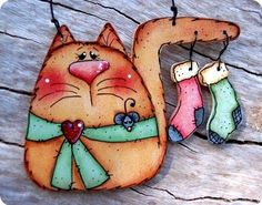 Kitty with Stockings Ornament by CountryCharmers on Etsy/ for Lizzie Arte Country, Pintura Country, Country Crafts, Christmas Paintings, Christmas Art, Christmas Decorations, Xmas, Santa Ornaments, Wood Ornaments