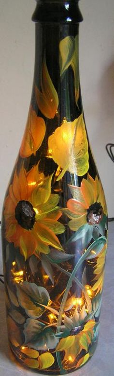 Sunflower Hand Painted Lighted Wine Bottle -enjoy!