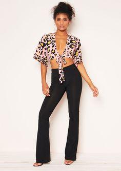 ce0480f59bf Missyempire - Poppy Pink Leopard Print Tie Crop Top Tie Crop Top
