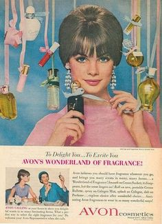 Jean Shrimpton in a 1960s ad for Avon.