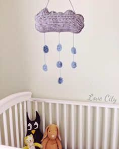 This sweet and colorful Cloud and Raindrops Nursery Mobile is anything but dreary! If you're attending a baby shower in the next few months, then you'll want to put this easy crochet pattern on your project list. All Free Crochet, Easy Crochet Patterns, Cute Crochet, Crochet For Kids, Crochet Crafts, Baby Patterns, Crochet Projects, Diy Projects, Crochet Baby Toys