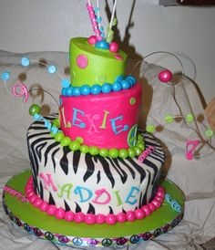 Funky Girly Cake - 10in, 8in, 6in Topsy Turvy.  Buttercream with MMF accents.  My 2nd attempt at topsy turvy, 1st time using just buttercream to cover.