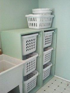 A great way to sort the laundry. Now if only they would cause the husband to actually sort the laundry! Laundry Basket Organization, Laundry Basket Dresser, Laundry Sorter, Laundry Area, Laundry Storage, Storage Room, Laundry Basket Holder, Laundry Room Shelving, Laundry Organizer Diy