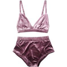 High Waist Velvet Bra Set Purple ($16) ❤ liked on Polyvore featuring intimates, bras, zaful, purple bra and velvet bra