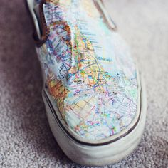 DIY Crafts - Gift Ideas - Map shoes! Find the map you need here http://www.mapsales.com/?utm_source=pinterest&utm_medium=pin&utm_campaign=caption