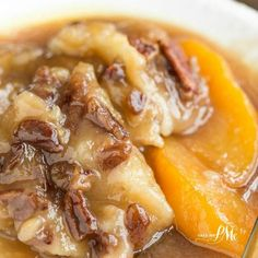 Peach Pecan Cobbler Recipe Desserts with all-purpose flour, baking powder, salt, granulated sugar, pecans, peaches, butter, whole milk, vanilla extract, brown sugar, hot water