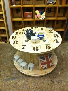 Reclaimed Cable Drum Rustic Clock Face Coffee Table Shabby Industrial Chic