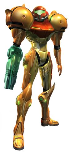 Samus Aran, from the Metroid series of games. This particular image was used in conjunction with the original Metroid Prime, and was printed / distributed as a set of limited, numbered lithographs as a pre-order bonus for the game.