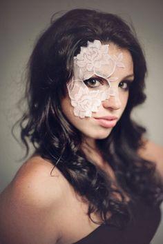 Halloween Mask - Masquerade Mask - Pale Pink Lace Mask - Mardi Gras Mask - Womens Costume - Strapless Lace Mask - Half Mask - Dance Costume