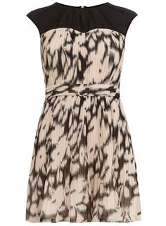 Stone/black pleated dress