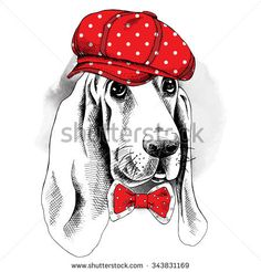 Portrait of a dog Basset Hound in red cap and tie. Vector illustration.