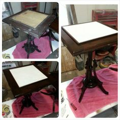 Refinished and repaired top to table base