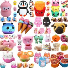 Newest 41 styles Jumbo Slow Rising Squishies Scented Charms Kawaii Squishy Squeeze. Anboor Squishies are loved by many people, they are cute and soft with scented. Kawaii Plush, Kawaii Cute, Diy Crafts Slime, Figet Toys, Cute Squishies, Slime And Squishy, Stress Toys, Cute School Supplies, Cute Polymer Clay