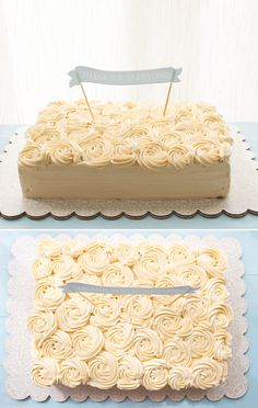 Thankyou Cake I want to make a cake like this! Love the piped roses on top!