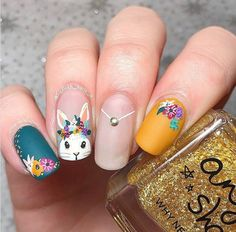 Easter nail ideas for you to try at home or take to your manicurist to get the cutes Easter nail art design. Easter nail art is a festive way to celebrate. Easter Nail Designs, Easter Nail Art, Nail Designs Spring, Nail Art Designs, Nails Design, Gold Gel Nails, Shellac Nail Art, Acrylic Nails, Oval Nails