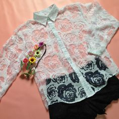 white rose lace shirt <3