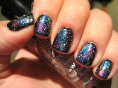 "How-to: The ""Galaxy Manicure"" (Rikki's best nail art tutorial yet!) http://beautyeditor.ca/2012/09/12/nail-art-alert-the-sparkly-galaxy-manicure-is-out-of-this-world-get-it/"