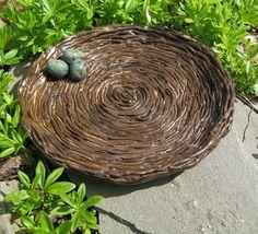 hand sculpted pottery | Ceramic Bluebird Egg Nest Plate / Hand Sculpted by TuppersPerch