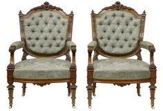 """PAIR OF FRENCH CARVED WALNUT ARMCHAIRS Ca1870 France. 38.5""""H x 25""""W x 21""""D."""