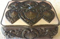 Vintage Silver Embossed/Enameled Footed Jewelry/Trinket Box (8157), Made in Japan