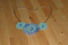 Beautiful Blue Flower Crocheted 20 Statement by SKDesigning, $15.00