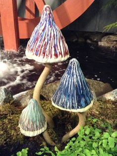 Ripple Pottery | Garden Mushrooms in Red, Blue and Bluegreen