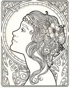 Art Nouveau Coloring Pages Adult Coloring Book Pages, Colouring Pages, Printable Coloring Pages, Coloring Books, Colorful Drawings, Art Drawings, Mucha Art Nouveau, Art Nouveau Tattoo, Book Art