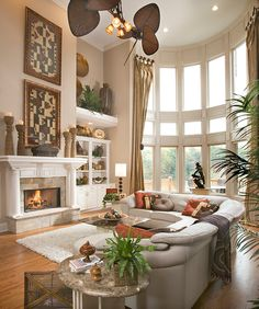 Magnificent Family Room of Luxurious Home: Luxury Family Room Interior Design With Double Height Design Touched For Tropical Nuance With Fre...