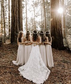 woodland forest wedding for bohemian bride, flower crowns, beige bridesmaid dresses, lace wedding gown with cathedral length train, Eight Times The Bridal Party Shined In Show Me Your Mumu Wedding Goals, Boho Wedding, Wedding Pics, Wedding Dresses, Party Wedding, Wedding Ideas, Dream Wedding, Rustic Wedding Photos, Woodland Wedding Dress