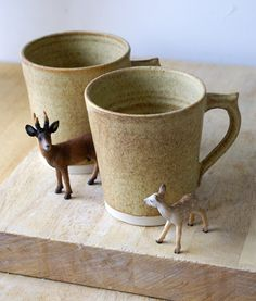 Two stoneware tea mugs  glazed in natural by LittleWrenPottery