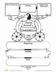 First Grade Comprehension Writing Stories Worksheets: Cinderella Story Map Worksheet