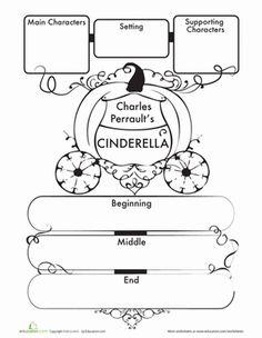 First Grade Comprehension Writing Stories Worksheets: Cinderella Story Map Worksheet